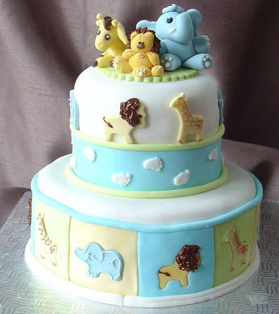 jungle animal baby shower cake