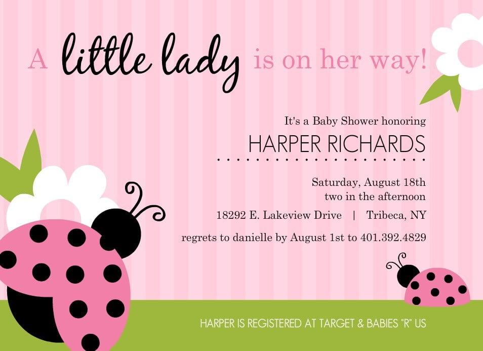 Ladybug Baby Shower Invitations Ideas For Girls