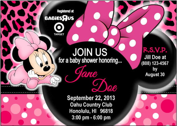 Minnie Mouse Baby Shower Invitation Design