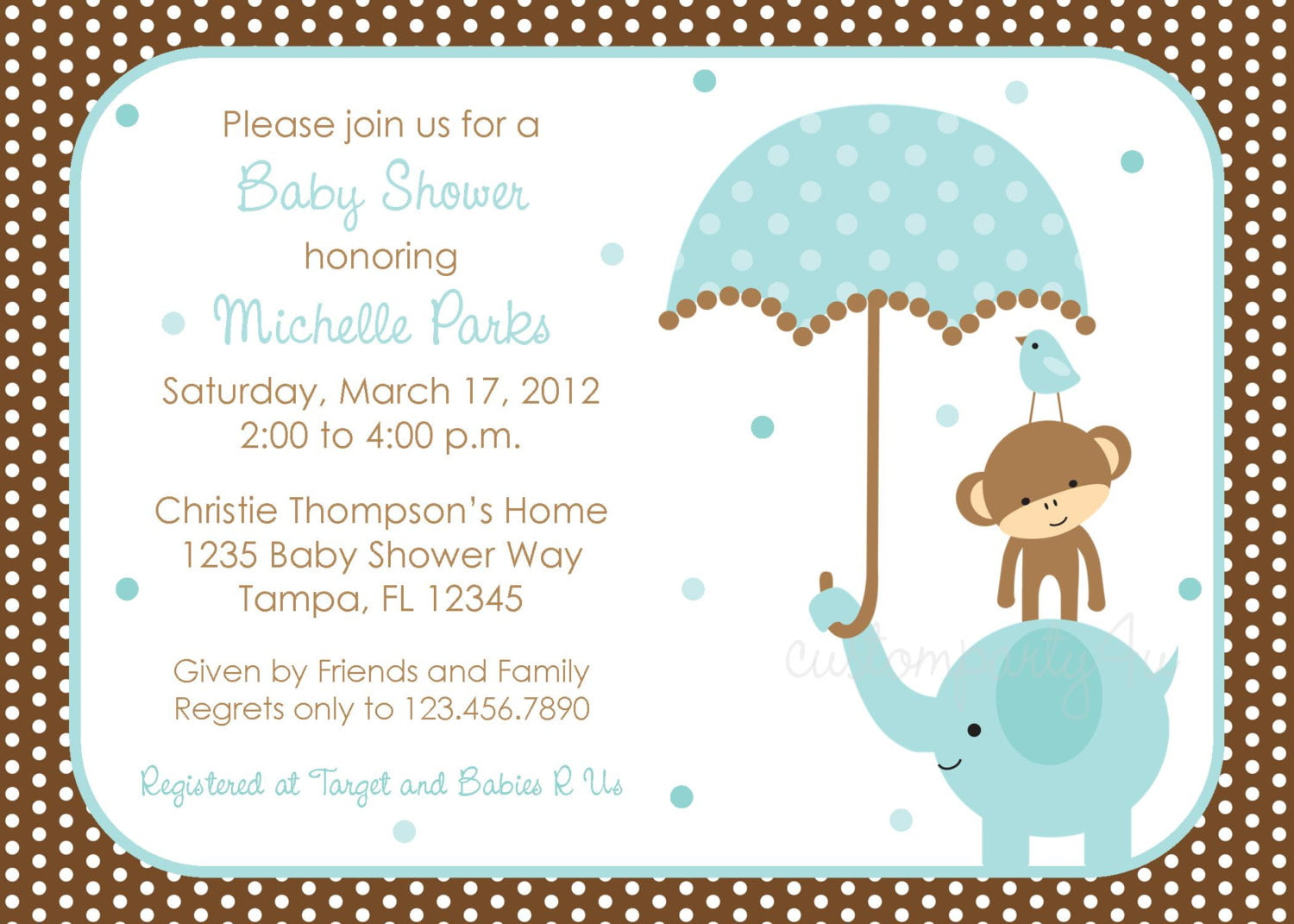 Polka dot Elephant Boys Baby Shower Invitations