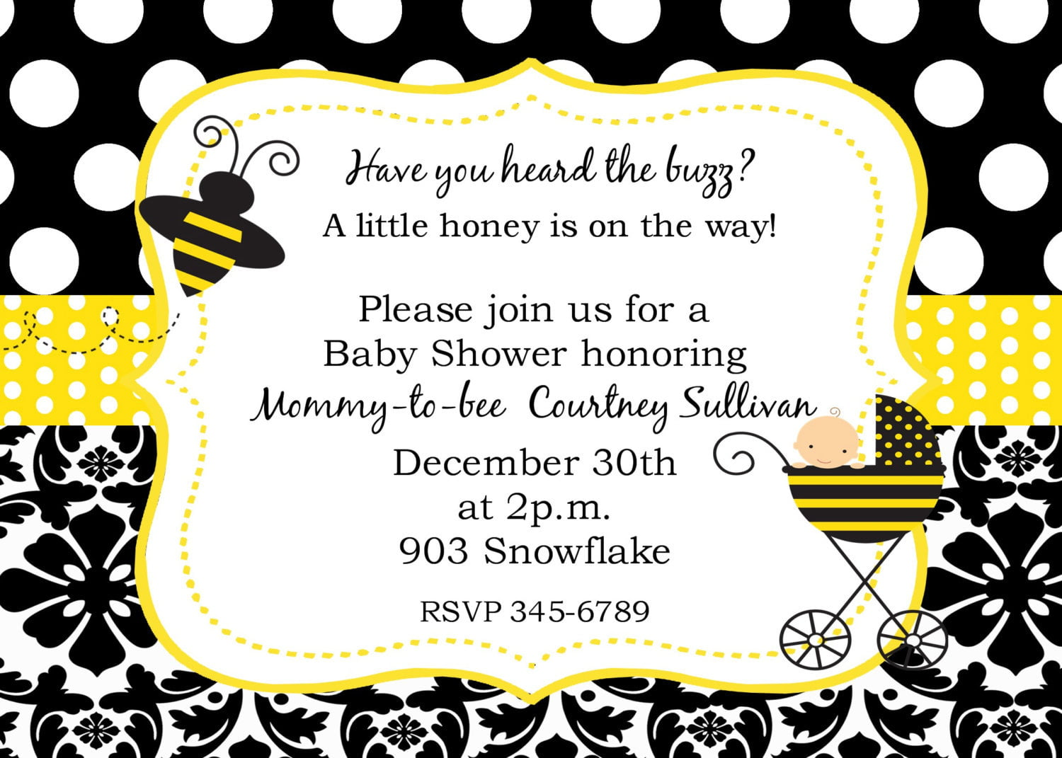 picture regarding Free Printable Bee Template titled Bumble Bee Boy or girl Shower Invites Free of charge Printable Boy or girl