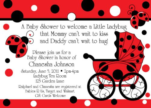 Ladybug Themes Baby Shower Invitation Ideas