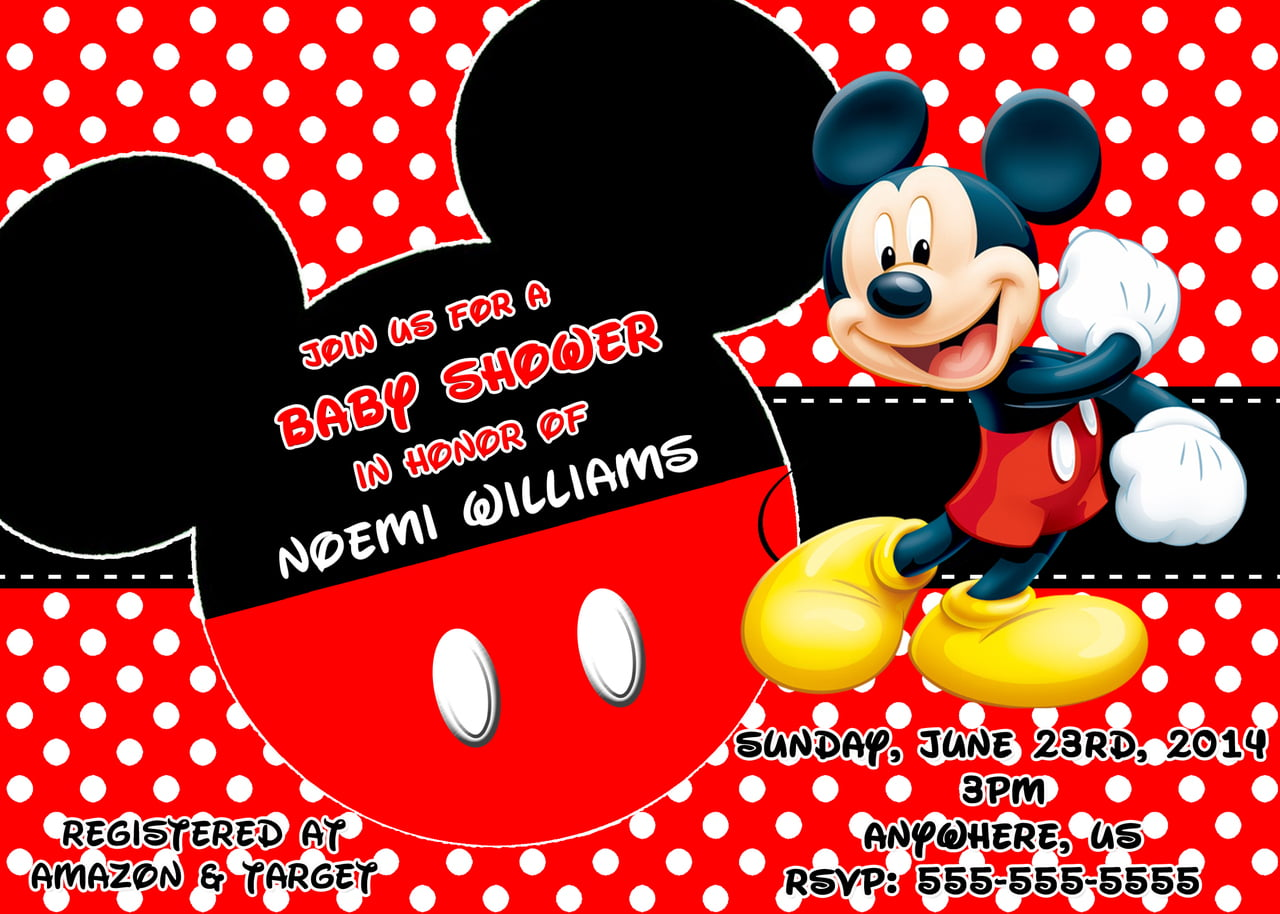 Mickey Mouse Theme Baby Shower Invitation Ideas