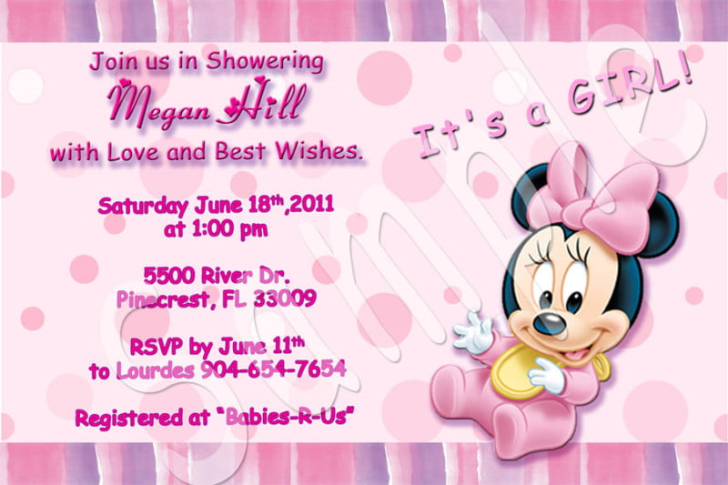 Minnie Mouse Baby Shower Invitations For Girls