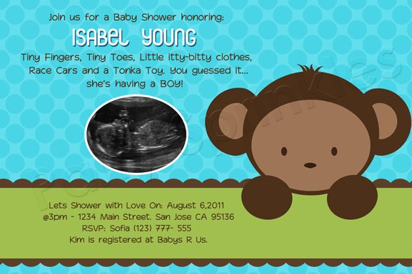 Monkey Themed Baby Shower Invitation Templates