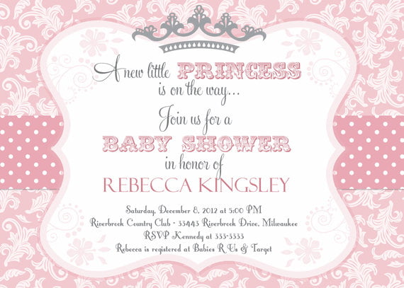Pink And White Princess Baby Shower Invitation Templates