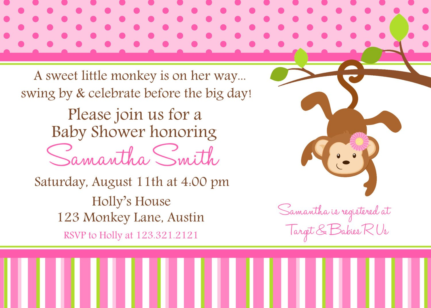 Monkey Baby Shower Invitation 1500 x 1071