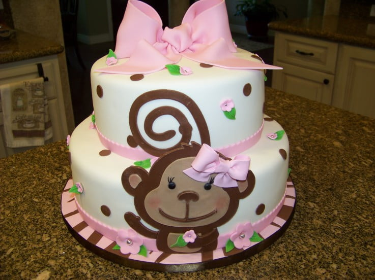 Pink Monkey Themed Baby Shower Cake For Girls