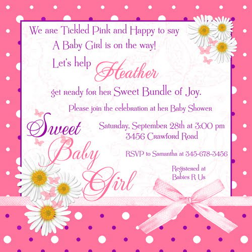 Pink Polka Dot Baby Shower Invitations Wording