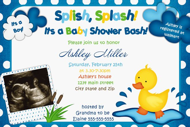 Rubber Duck Boy Baby Shower Invitations