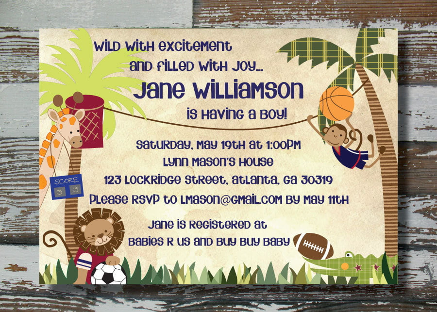 sports themed baby shower invitations | baby shower for parents, Baby shower invitations