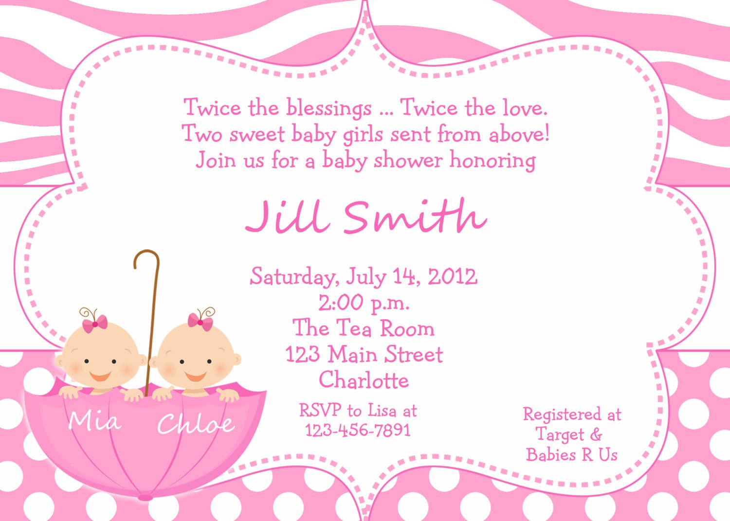 Twin Baby Shower Invitations To Announcement Of New Twin