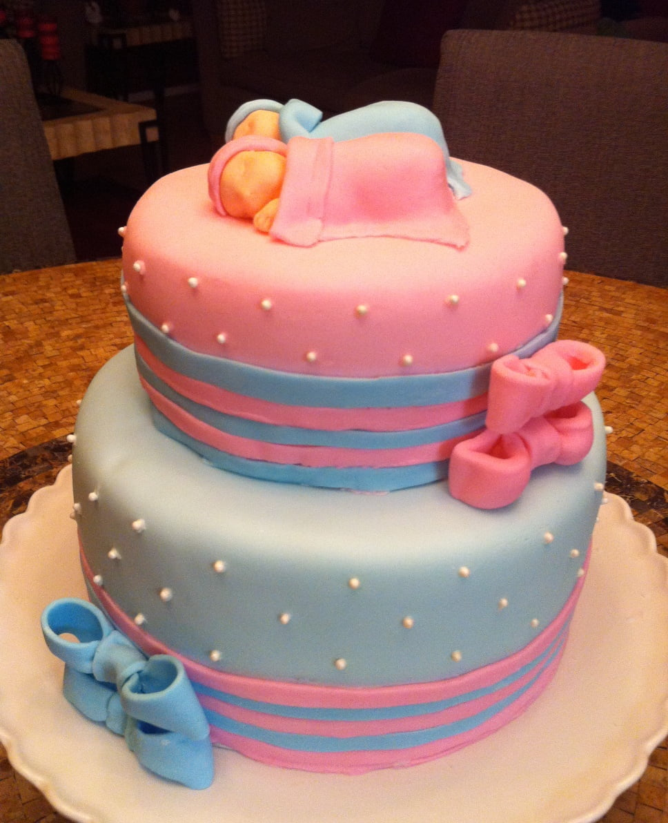 adorable pink and blue for twin baby shower cakes