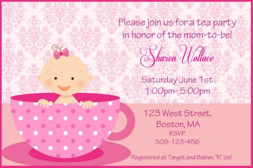 Baby Pink Tea Party Baby Shower Invitation Templates