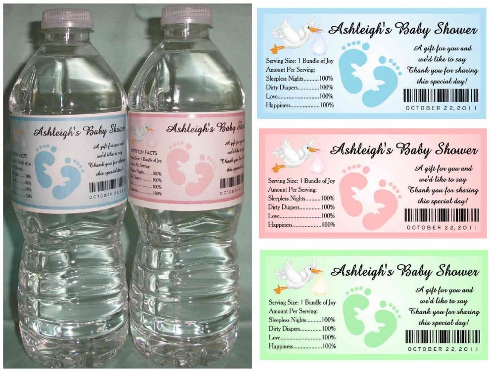 How to create baby shower water bottle labels free for How to put labels on water bottles