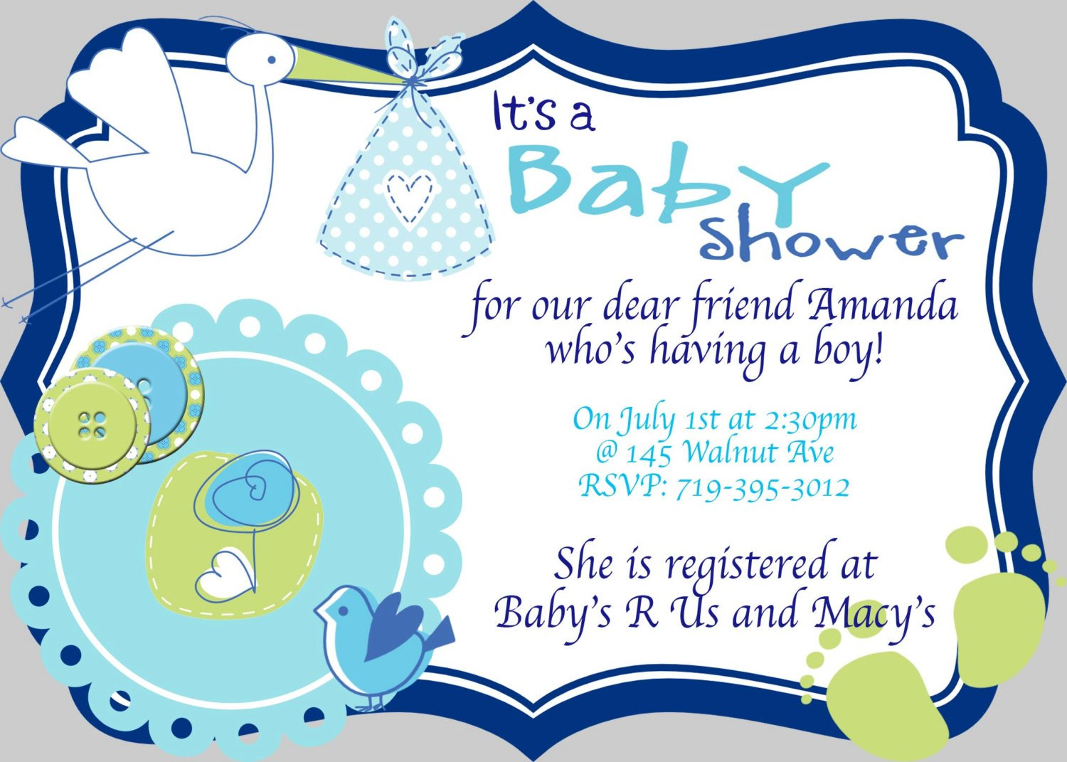Baby Shower Sayings For Baby Boy Invitation