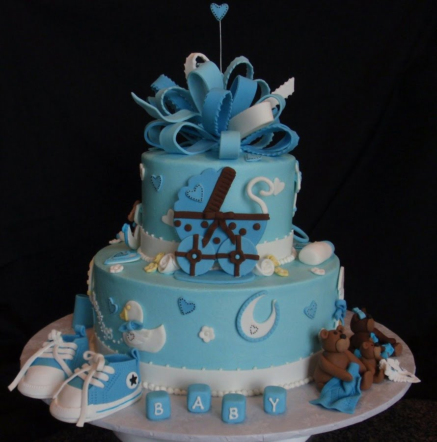 Cake ideas for boy baby shower baby shower for parents for Baby shower cake decoration idea