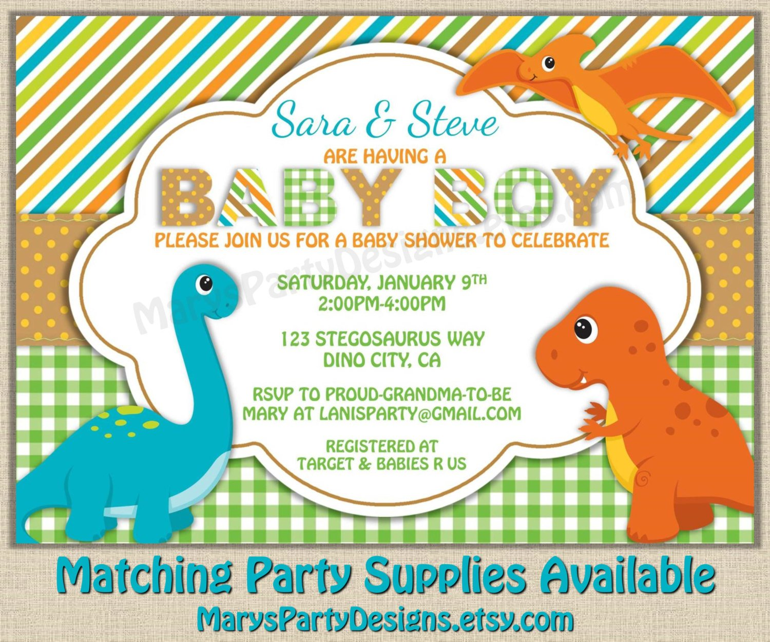 Dinosaur Themed Baby Shower Invitation Templates