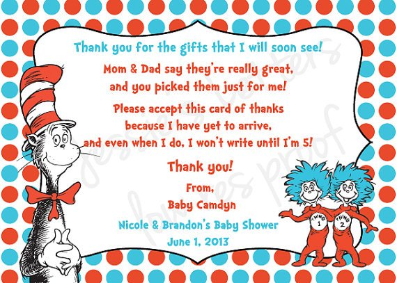 Dr. Suess Baby Shower Thank You Card Wording