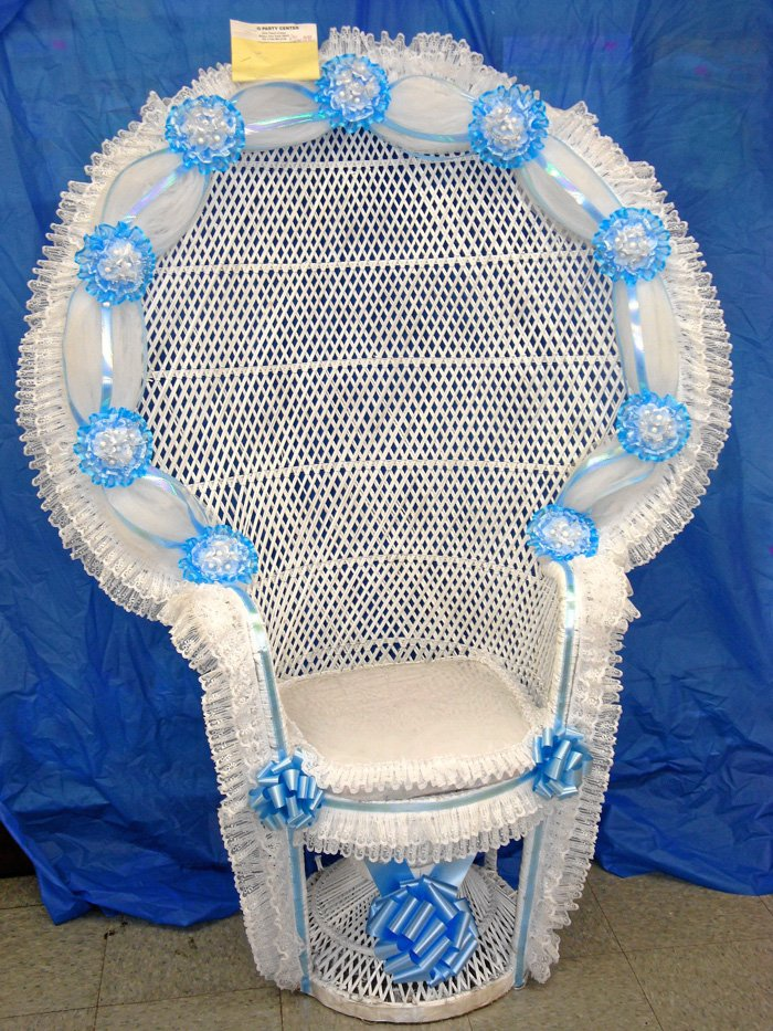 Elegant Blue And White Baby Shower Chairs Decoration