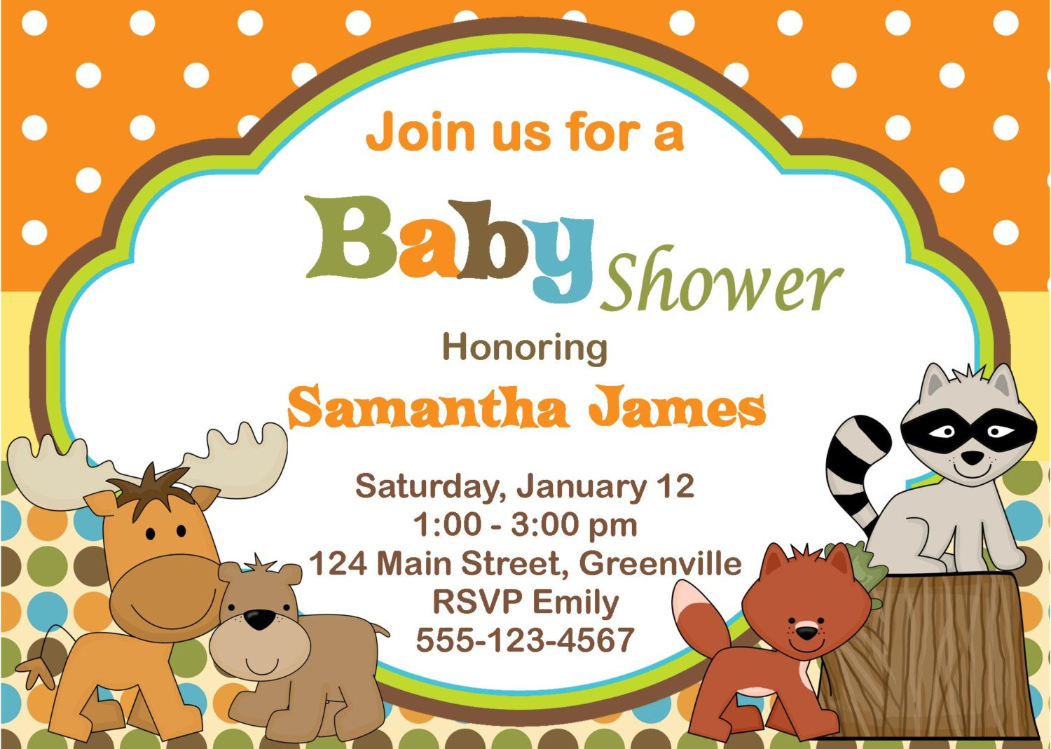 Free Printable Animal Baby Shower Cards Design