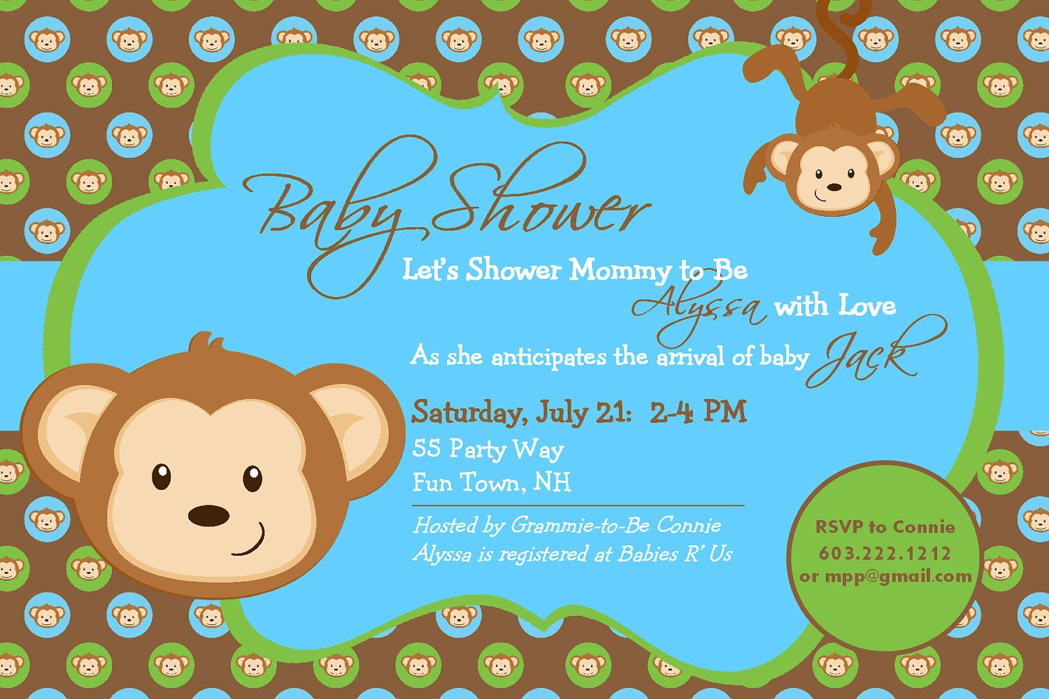 Free Printable Monkey Baby Shower Invitation
