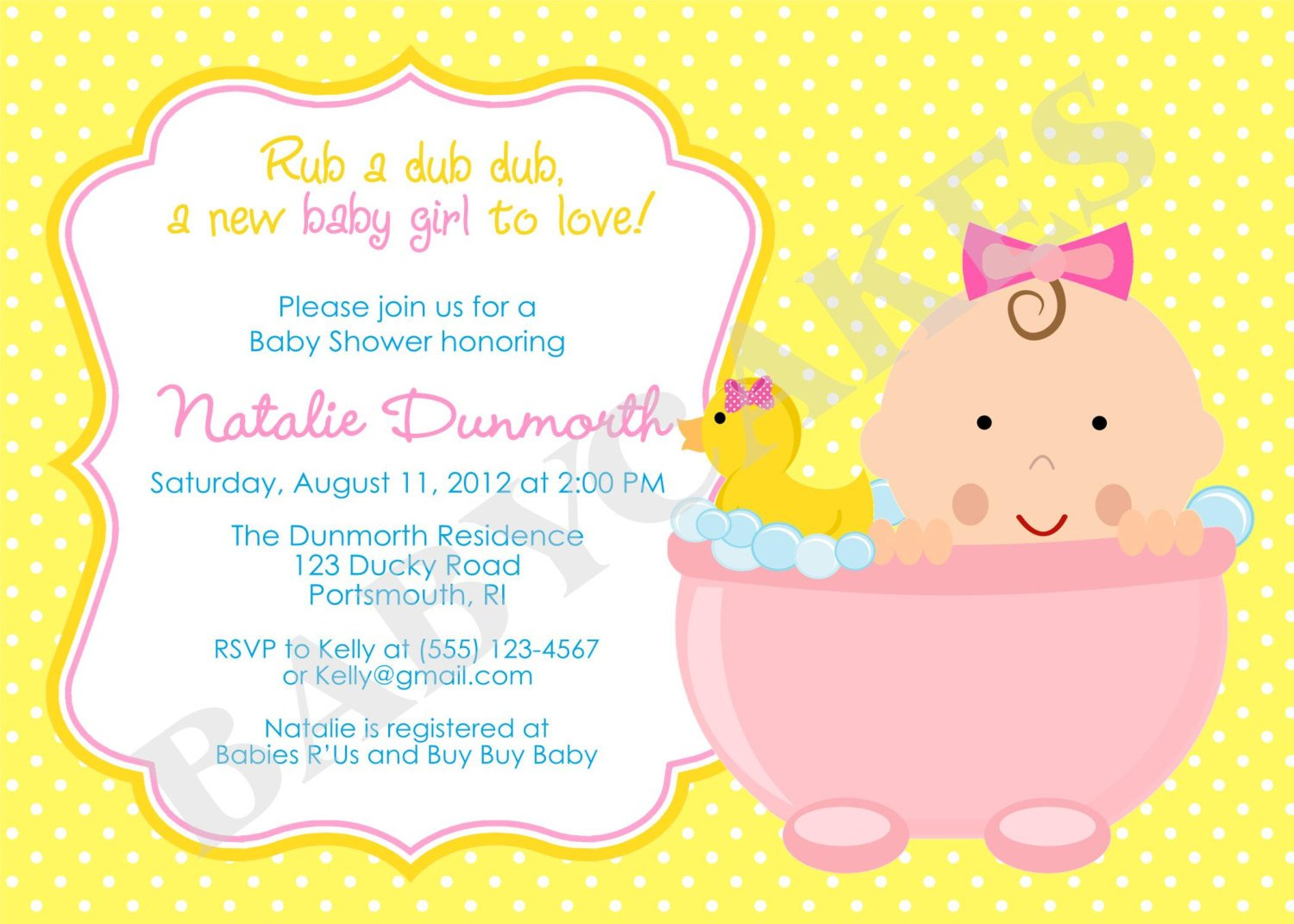 How to plan rubber ducky baby shower ideas free for Free baby shower invitation templates