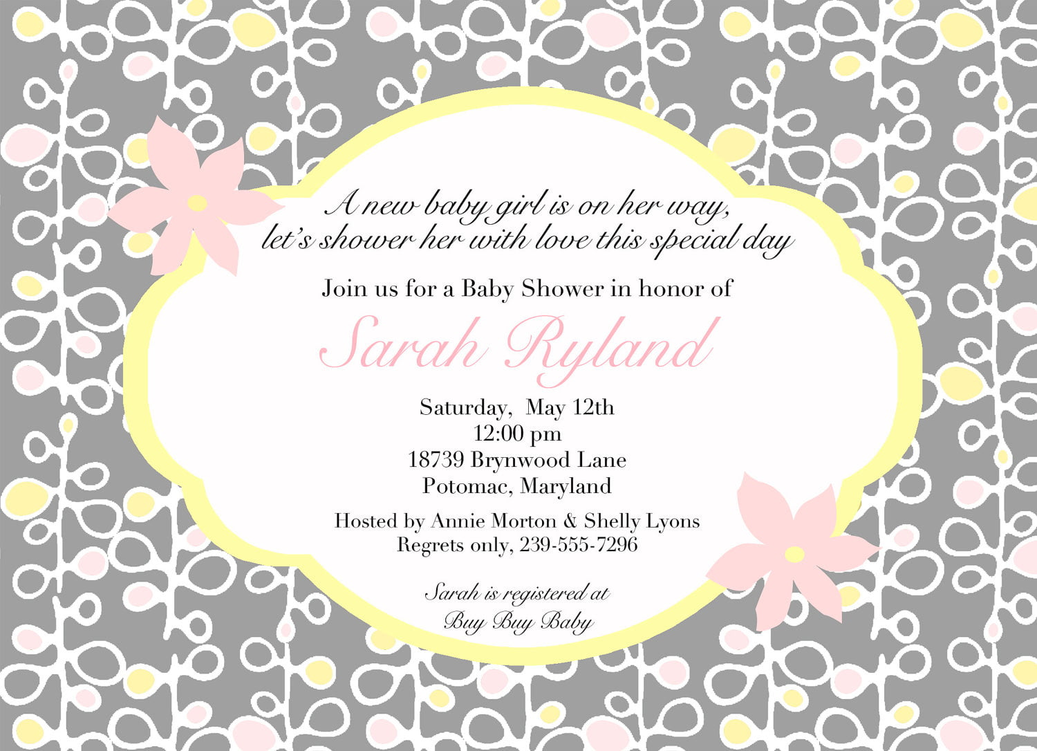 Grey Baby Shower Invitation Wording Ideas