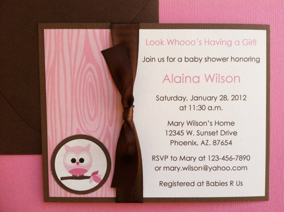 Handmade Owl Baby Shower Invitations With Ribbon