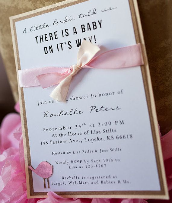 Homemade Pink Bird Baby Shower Invitations With Ribbon