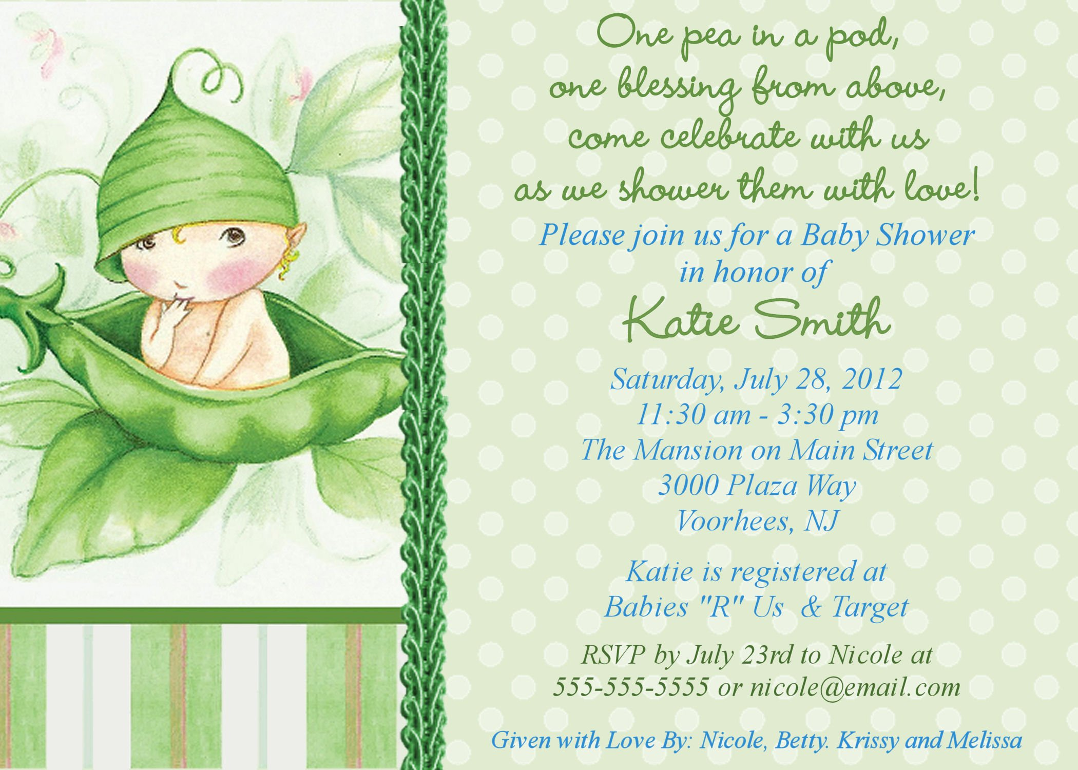 Twin baby shower themes ideas pea in the pod free for Free baby shower invitation templates