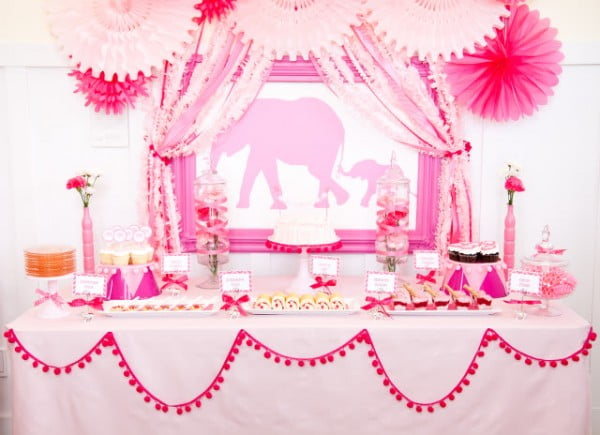 Pink Elephant Girl Baby Shower Decoration