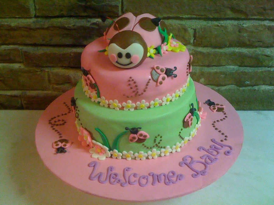 Pink Little Bug Baby Shower Cake Ideas