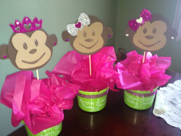 Pink Monkey Baby Shower Centerpieces
