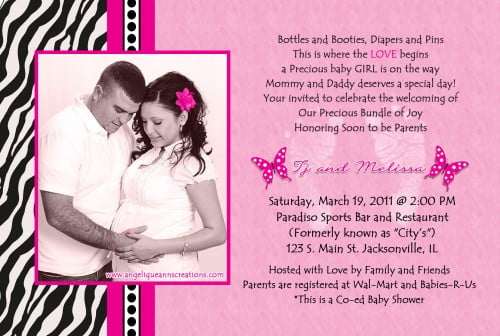 Pink Zebra Print Baby Shower Invitation Wording