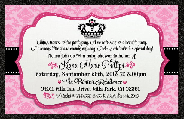 Princess Baby Shower Invitation Wording For Girls