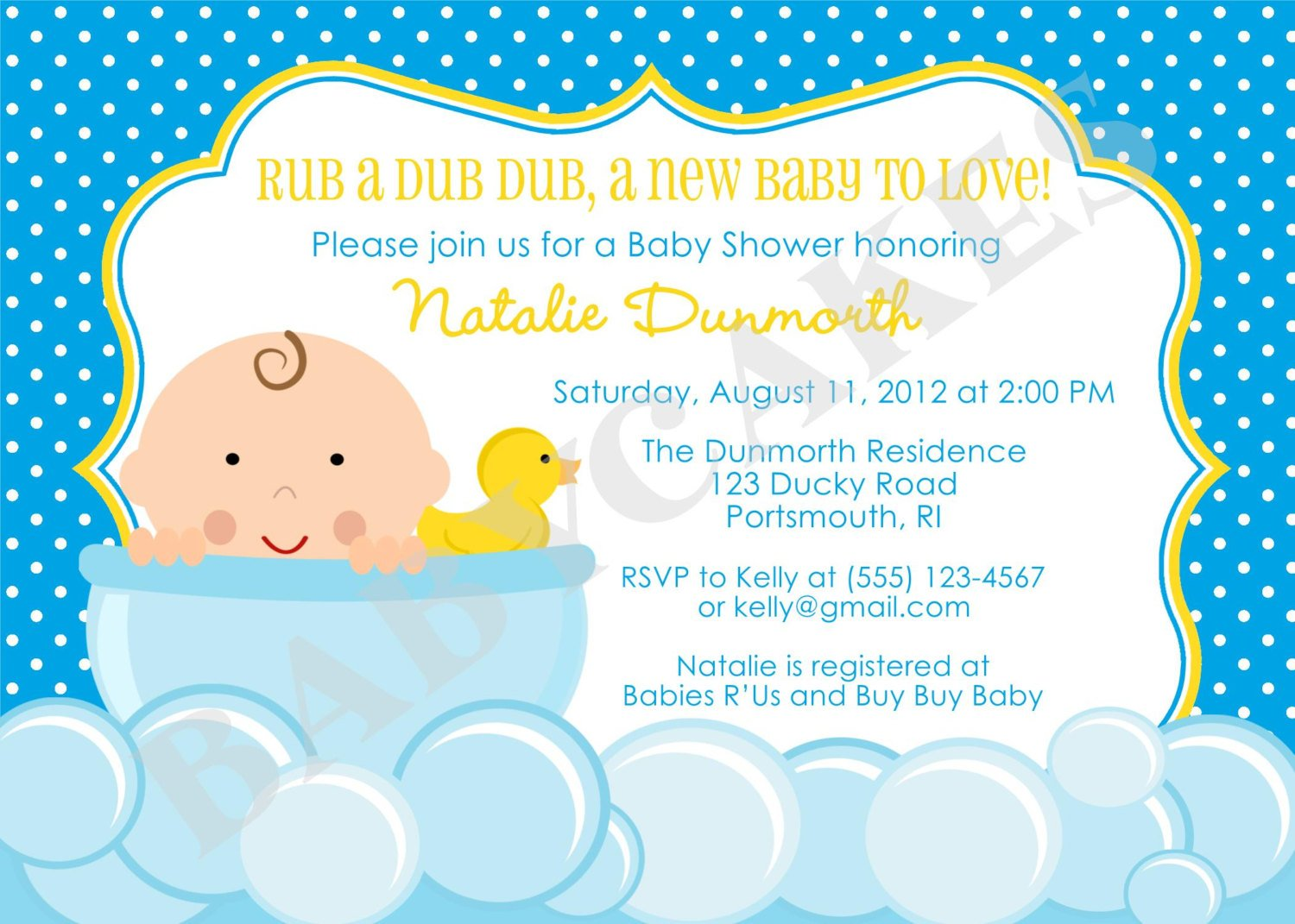 Rubber Duck Baby Shower Invitation Templates