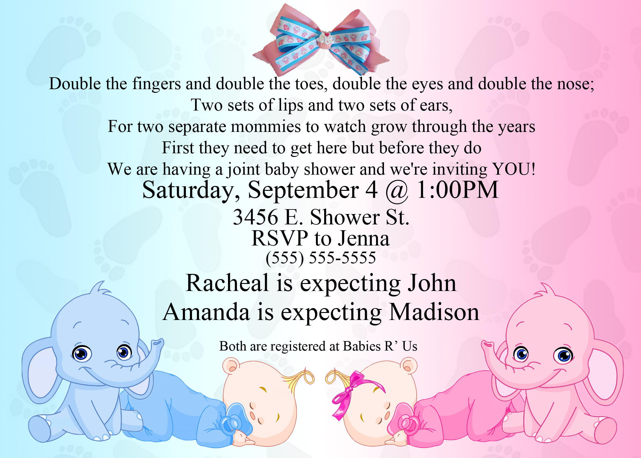 Twins Elephant Baby Shower Invitation Templates Free