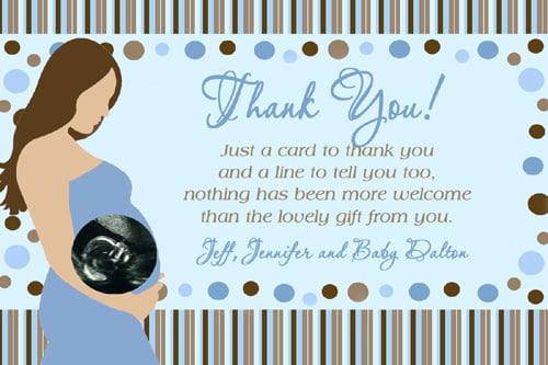 photo about Printable Baby Shower Thank You Cards referred to as Ultrasonografi Boy or girl Shower Thank Your self Card Wording Totally free