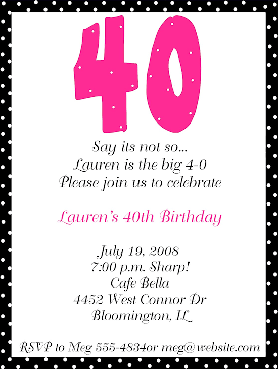 40th Birthday Party Invitation Wording Baby Shower for Parents