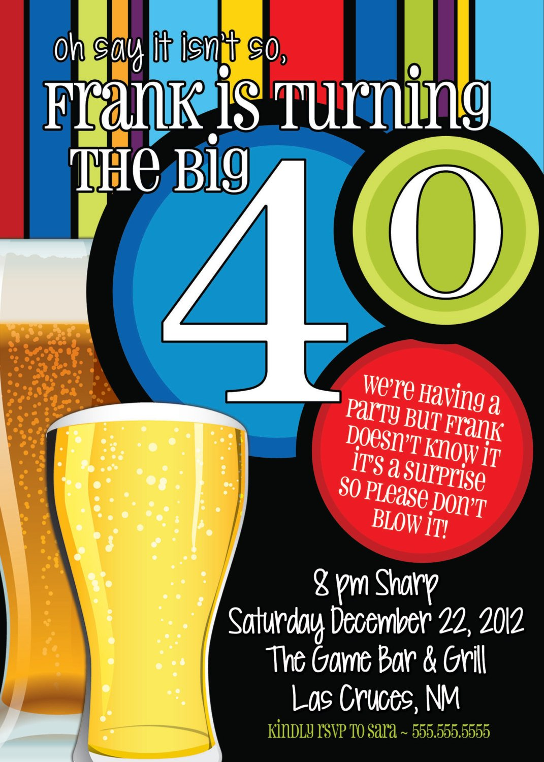 Beer Men 40th Birthday Party Invitation Wording Ideas