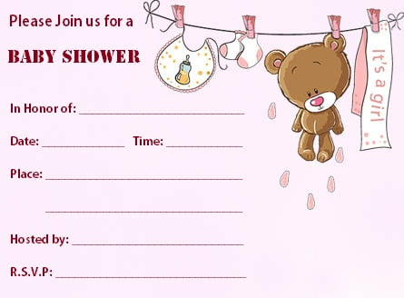 Blank Pink Teddy Bear Baby Shower Invitations