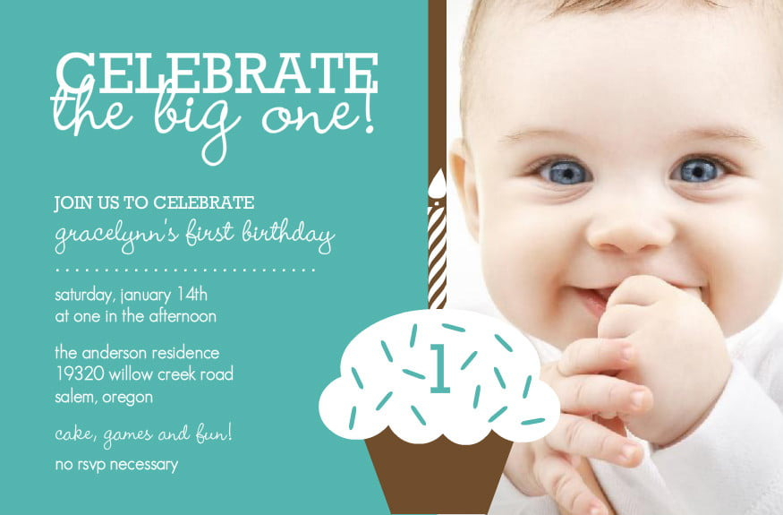 Cupcake Baby Boy 1st Birthday Invitation Ideas