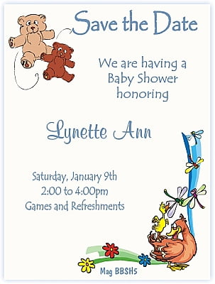 Dragonflies And Teddies Save The Date Baby shower Theme