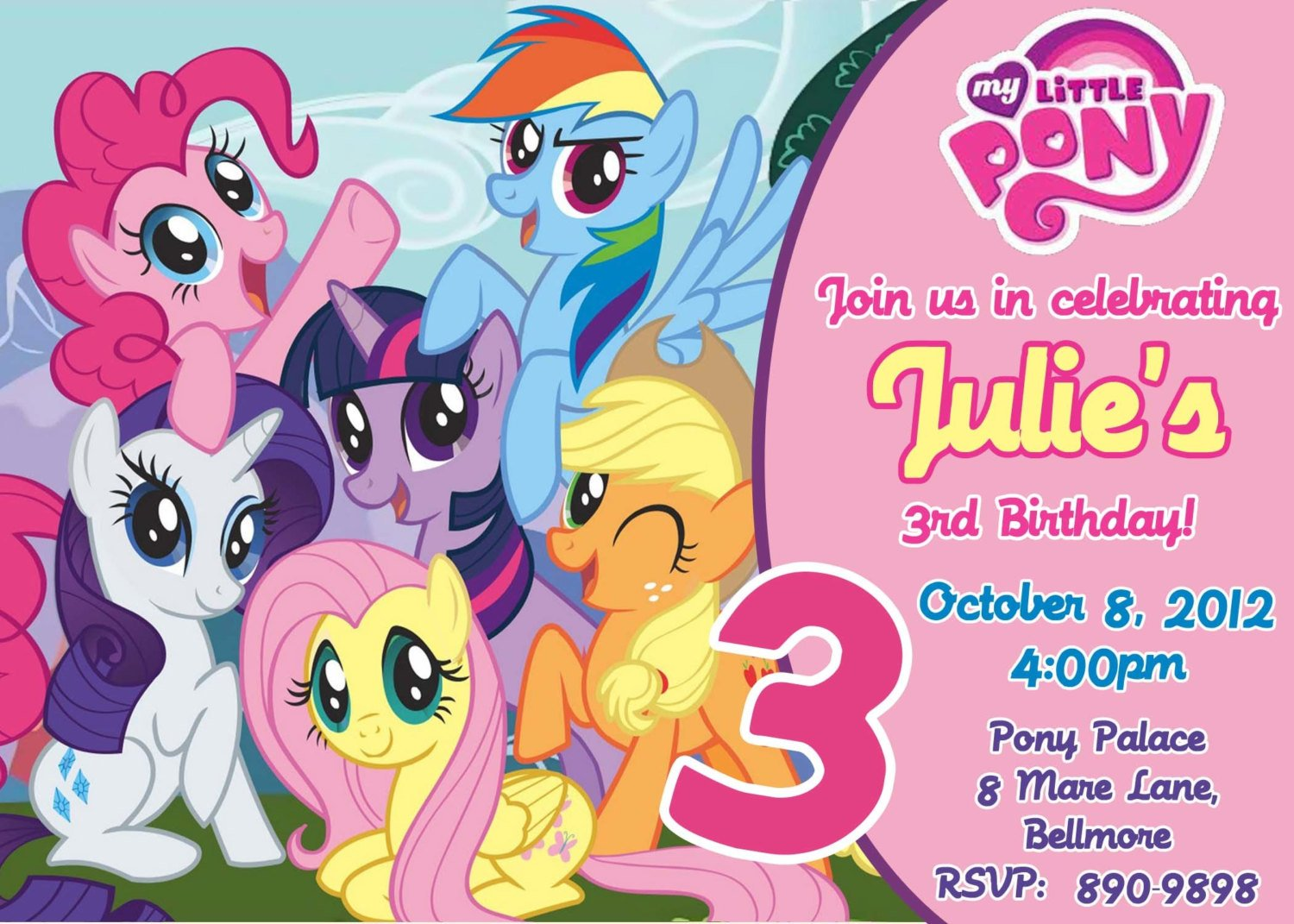 graphic about My Little Pony Printable Birthday Cards named My Very little Pony Birthday Get together Invites Totally free Printable