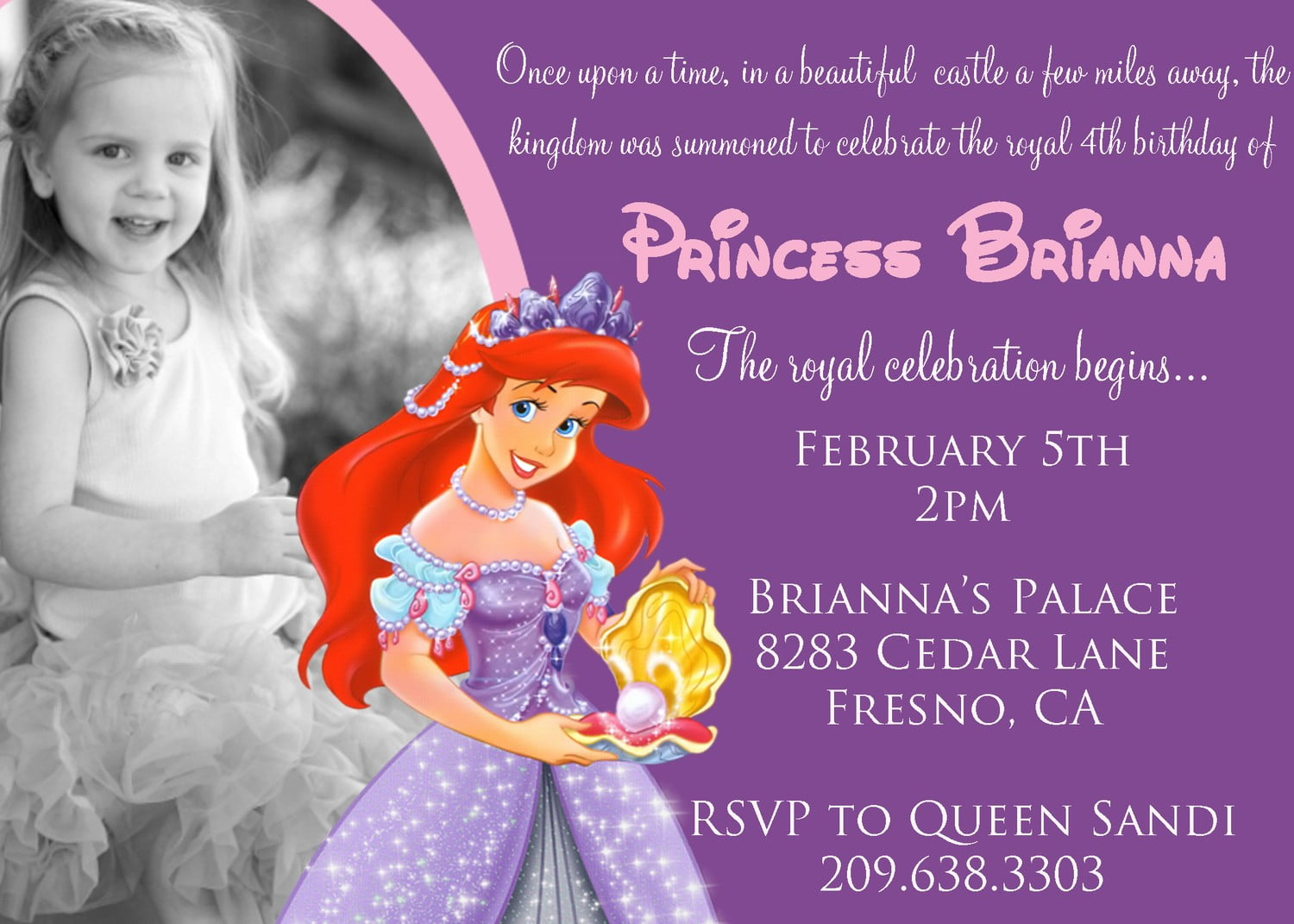 Free Printable The Little Mermaid 4th Birthday Invitation