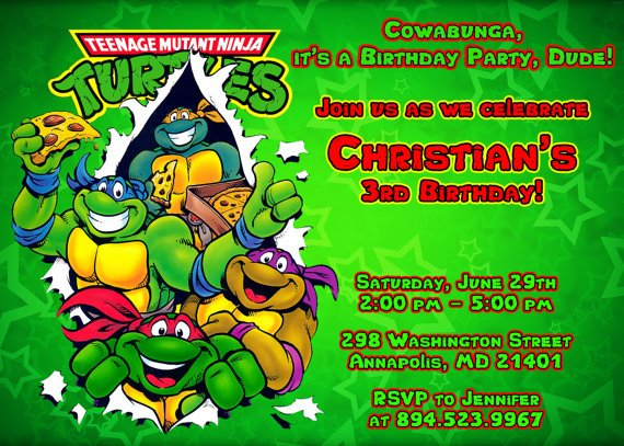 ninja turtle birthday party invitations  baby shower for parents, Birthday invitations
