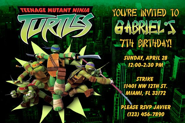 ninja turtle birthday party invitations  baby shower for parents, Party invitations