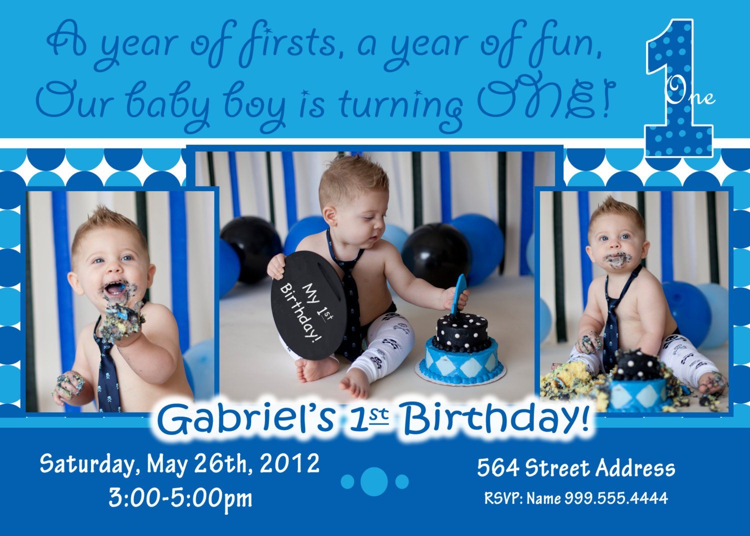 Personalized Baby Boy 1st Birthday Invitation Templates