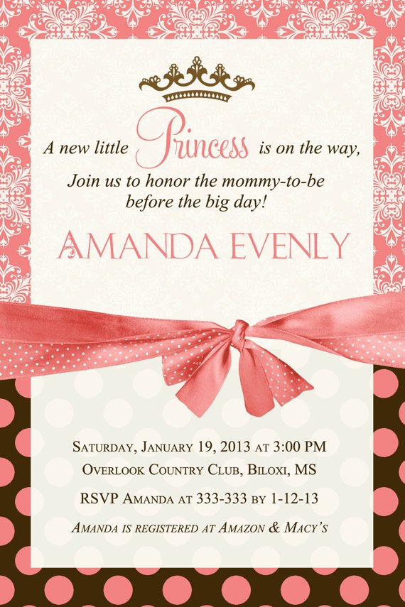 Pink And Brown Princess Baby Shower Invitation